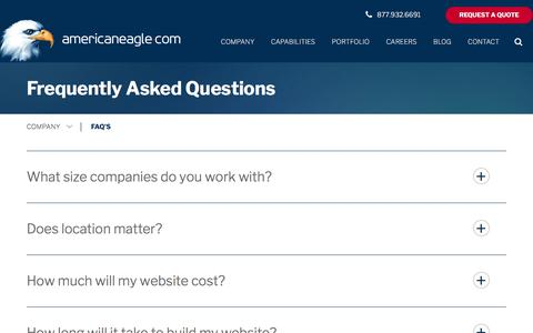 Screenshot of FAQ Page americaneagle.com - Web Design & Development Question Center | Our Web Development Services | Americaneagle.com - captured March 5, 2018