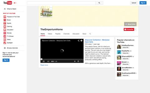 Screenshot of YouTube Page youtube.com - TheEmporiumHome  - YouTube - captured Oct. 24, 2014