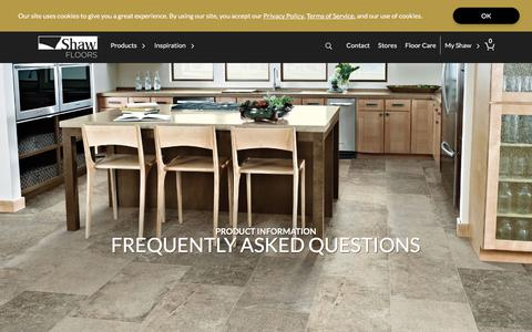 Screenshot of FAQ Page shawfloors.com - Frequently Asked Flooring Questions | Shaw Floors - captured Aug. 17, 2019