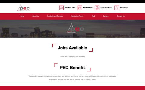 Screenshot of Jobs Page pecutilities.co.za - Careers - PEC Utility Management - captured Dec. 13, 2018