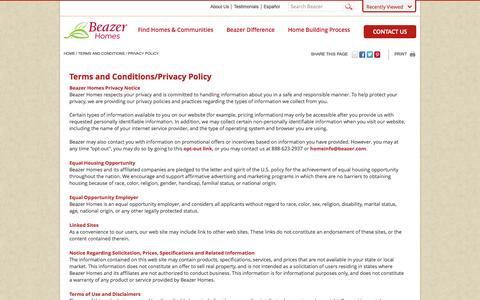 Screenshot of Privacy Page beazer.com - Terms and Privacy Policy - captured Sept. 19, 2014