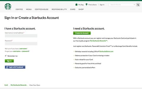 Account Sign In | Starbucks Coffee Company