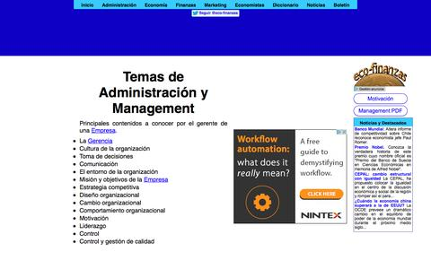 Screenshot of eco-finanzas.com - Temas de Administración y Management - captured Jan. 16, 2018