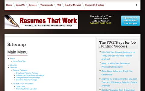 Screenshot of Site Map Page resumesthatwork.com.au - Resumes That Work - Melbourne - Australia's Premier Resume Writing Service - Resumes That Work - Melbourne - Australia's Premier Resume Writing Service: Resumes That Work - Melbourne - Australia's Premier Resume Writing Service - captured Sept. 20, 2018