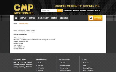 Screenshot of Support Page colombophils.com.ph - Customer Service - captured Nov. 2, 2014