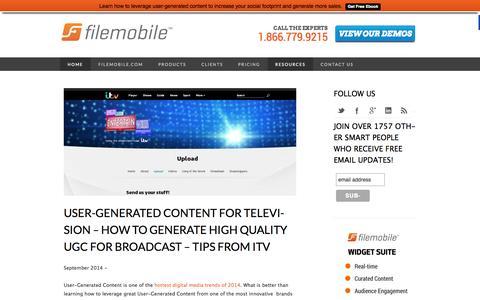 Screenshot of Blog filemobile.com - The Filemobile Blog - User-Generated Content Marketing | Social Media - captured Sept. 25, 2014