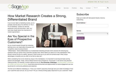 Screenshot of sageagestrategies.com - How Market Research Creates a Strong, Differentiated Brand | Sage Age Strategies - captured Aug. 20, 2016
