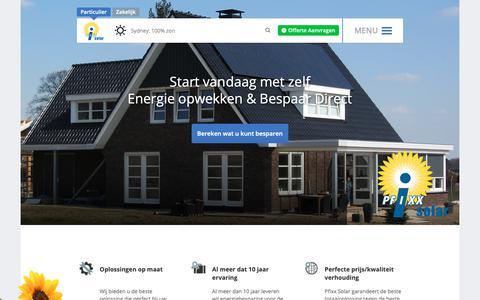 Screenshot of Home Page pfixxsolar.nl - Zonne energie voor iedereen. Start vandaag met opwekken! - captured Sept. 28, 2018