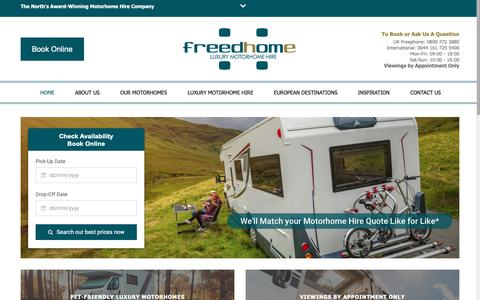 Screenshot of Home Page freedhome.co.uk - Freedhome Luxury Motorhome Hire | UK & European Motorhome Holidays - captured Oct. 11, 2018
