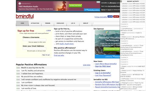 Screenshot of Home Page bmindful.com - bmindful - the positive affirmation and self help community - captured Oct. 10, 2015