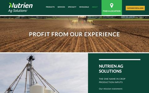 Screenshot of About Page nutrienagsolutions.com - About | Nutrien Ag Solutions - captured Oct. 18, 2018