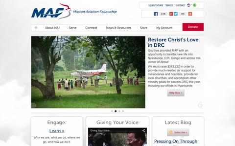 Screenshot of Home Page maf.org - MAF: Transforming Lives through Aviation and Technology - Mission Aviation Fellowship - captured Oct. 7, 2014