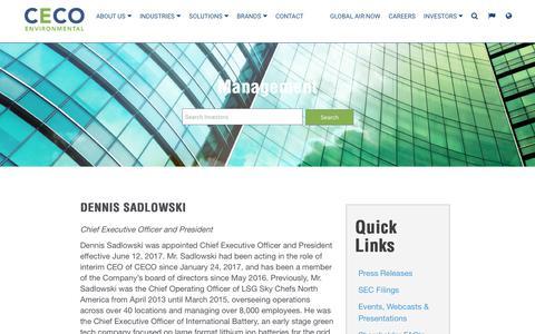 Screenshot of Team Page cecoenviro.com - CECO | Investor Relations - Management - captured April 27, 2018