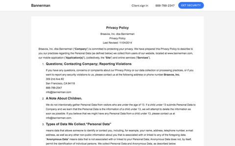 Screenshot of Privacy Page bannerman.com - Privacy - captured June 29, 2018