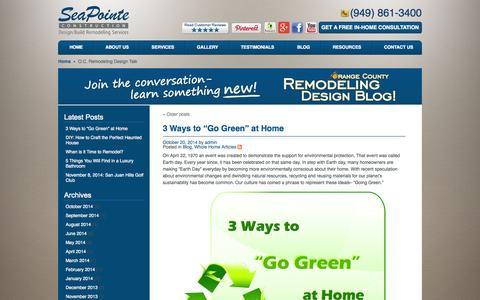 Screenshot of Blog seapointe.com - O.C. Remodeling Design Talk   Sea Pointe Construction - captured Oct. 27, 2014