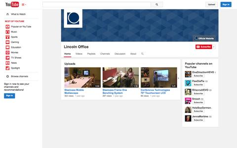 Screenshot of YouTube Page youtube.com - Lincoln Office  - YouTube - captured Oct. 22, 2014