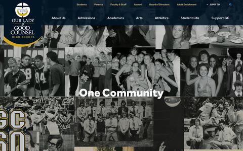 Screenshot of Home Page olgchs.org - Home - Our Lady of Good Counsel High School - Olney, MD - captured Oct. 18, 2018