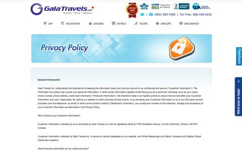 Screenshot of Privacy Page galatravels.com - Travel Agent Toronto Airfares, Flight Tickets, Cruises, Vacation Packages, Hotel Reservation Canada - captured May 14, 2017