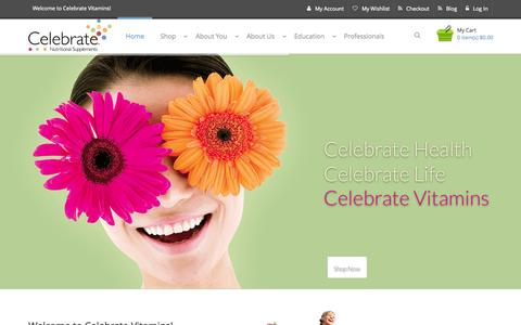 Screenshot of Home Page celebratevitamins.com - Celebrate Bariatric Vitamins, Supplements and Calcium - captured June 17, 2015