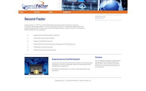 Screenshot of Home Page secondfactor.com - Second Factor - captured Oct. 24, 2017