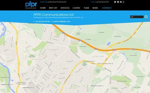 Screenshot of Contact Page pfpr.com - PFPR - automotive PR and events - captured Oct. 1, 2014