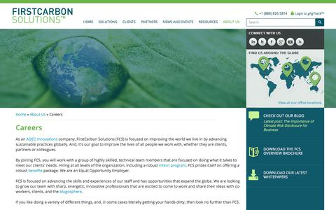 Screenshot of Jobs Page firstcarbonsolutions.com - Sustainability & Energy Management, Environmental Compliance, Careers - firstcarbon solutions, first carbon, sustainability management, energy management, environmental compliance, careers in sustainability, careers in energy management, careers in e - captured Sept. 25, 2018