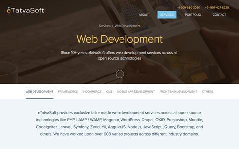 Screenshot of Services Page etatvasoft.com - PHP Web Development | Outsourcing PHP Development Services | PHP Web Design | PHP Developers | eTatvaSoft -PHP Development Company - captured Sept. 1, 2016