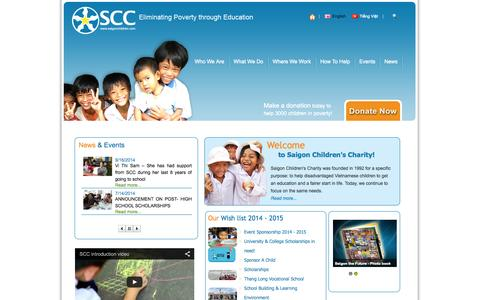 Screenshot of Home Page saigonchildren.com - Saigon Children's Charity - Scholarships | Building Schools & Learning Environments | Development & Vocational Training | Working With Other Organisations | Help the most disadvantaged children of Vietnam - captured Oct. 4, 2014