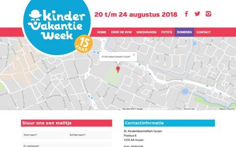 Screenshot of Contact Page kindervakantieweek.nl - Vragen? Neem contact met ons op! – Kindervakantieweek Huizen - captured Oct. 17, 2017