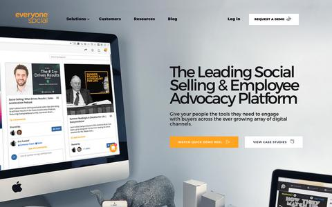 Screenshot of Home Page everyonesocial.com - Social Selling & Employee Advocacy Software | EveryoneSocial - captured Nov. 8, 2017