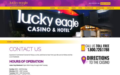 Screenshot of Contact Page luckyeagle.com - Contact Us | Lucky Eagle Casino - captured Nov. 11, 2018