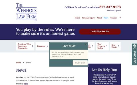 Screenshot of Press Page wenholz.com - News | The Wenholz Law Firm PLLC | Austin, Texas - captured Oct. 24, 2017