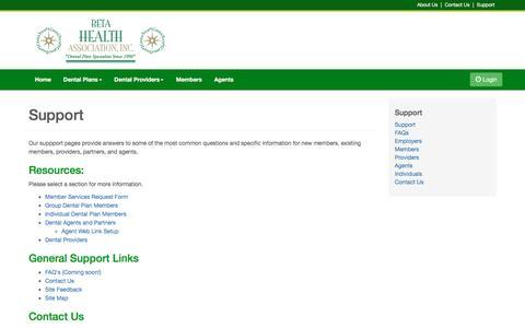 Screenshot of Support Page betadental.com - Support - Beta Health Association Colorado - captured Feb. 7, 2016