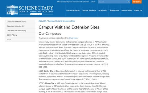 Screenshot of Maps & Directions Page sunysccc.edu - Campus Visit and Extension Sites - captured Nov. 19, 2016