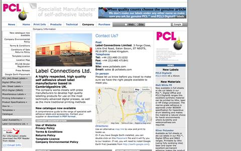 Screenshot of Contact Page Maps & Directions Page pcllabels.com - Label Connections Ltd. Company page - captured Oct. 22, 2014