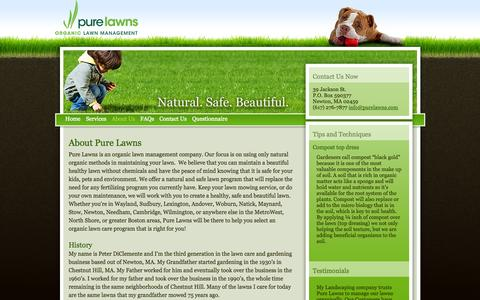 Screenshot of About Page purelawns.com - Organic Lawn Care | Newton, Wayland, Sudbury, Boston, MetroWest - Pure Lawns - About Us - captured Sept. 30, 2014