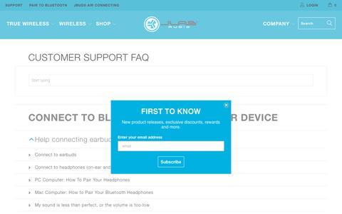 Screenshot of FAQ Page jlabaudio.com - JLab Audio - captured Aug. 31, 2019