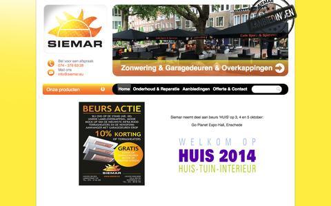 Screenshot of Home Page siemar.eu - Siemar Zonwering BV - captured Oct. 6, 2014