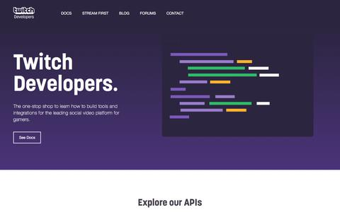 Screenshot of Developers Page twitch.tv - Twitch Developers - captured Oct. 1, 2016