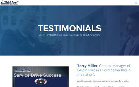 Screenshot of Testimonials Page autoalert.com - AutoAlert - Automotive Data Mining Automotive Dealer Testimonials for Equity Data Mining Software - captured June 17, 2018
