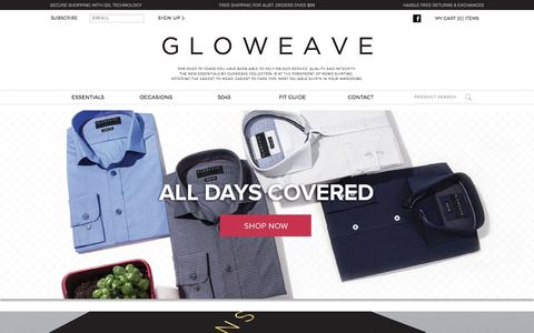 Screenshot of Home Page gloweave.com - Shop men's shirts | Cotton, Striped, Check shirts | Gloweave - captured Nov. 8, 2016