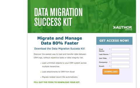 Screenshot of Landing Page apttus.com - Apttus Data Migration Success Kit - captured April 13, 2018