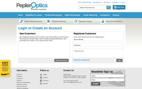 Screenshot of Login Page pepleroptics.com - Customer Login - captured May 15, 2017