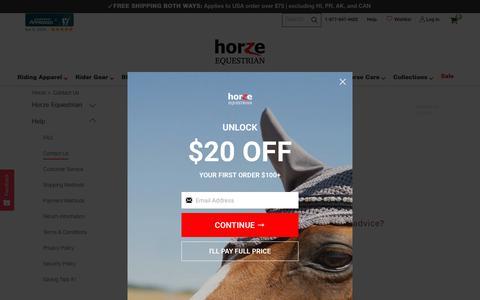 Screenshot of Contact Page horze.com - Contact Us - Horze - captured Nov. 8, 2019