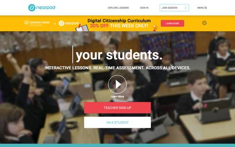Screenshot of Home Page nearpod.com - Nearpod: Create, Engage, Assess through Mobile Devices. | Interactive Lessons | Mobile Learning | Apps for Education | iPads in the Classroom - captured Oct. 25, 2015