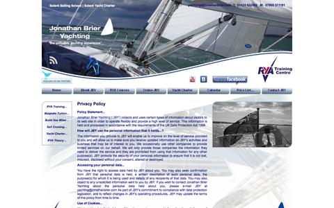 Screenshot of Privacy Page solentsailingschool.co.uk - Privacy Policy   Jonathan Brier Yachting   Lymington, UK - captured Sept. 30, 2014