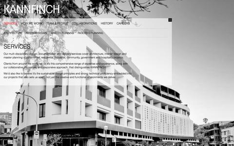 Screenshot of About Page kannfinch.com - Services   KANNFINCH - captured Sept. 30, 2014