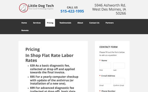 Screenshot of Pricing Page littledogtech.com - Little Dog Tech offers competitive rates for residential and business services - captured May 21, 2017