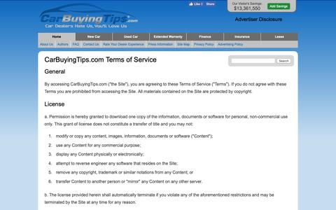 Screenshot of Terms Page carbuyingtips.com - CarBuyingTips.com Terms of Service - captured Sept. 27, 2018