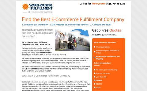 Screenshot of Landing Page warehousingandfulfillment.com - E-Commerce Fulfilment LP | - captured Sept. 29, 2016